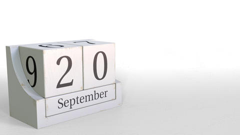 September 20 date on vintage cube calendar, 3D animation Footage