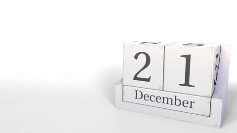 December 21 date on retro blocks calendar, 3D animation Footage
