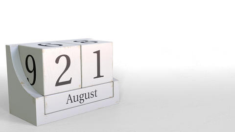 August 21 date on vintage cube calendar, 3D animation Footage