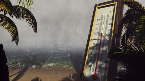 Thermometer Fahrenheit Celsius shows lowering temperature during a storm. The CG動画素材