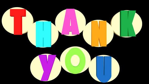 Thank you outro with multicolored letters and white rotating circles on black Animation