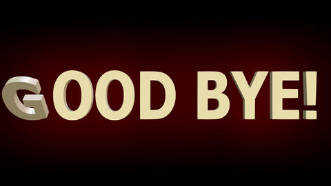 Good bye animated lettering with red theater curtain, 3d animated outro Animation
