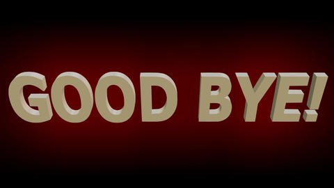 Good bye animated lettering with red theater curtain, 3d... Stock Video Footage