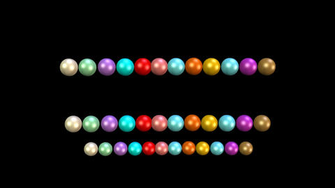 Beads animation, multicolored beads moving in rows on black background. 3d movie ビデオ
