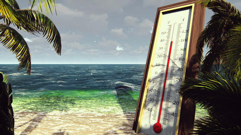 Thermometer Fahrenheit Celsius shows lowering temperature. The concept of global Animation