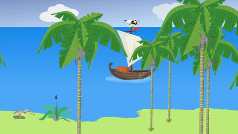 ancient sailboat with moving tropical landscape Videos animados