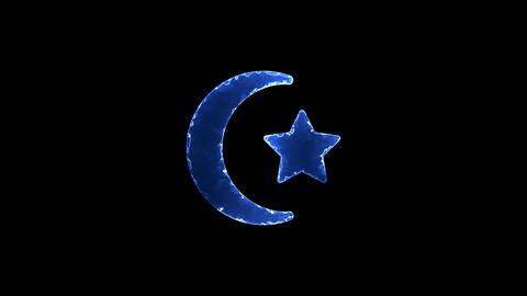 Symbol star and crescent. Blue Electric Glow Storm. looped video. Alpha channel Animation