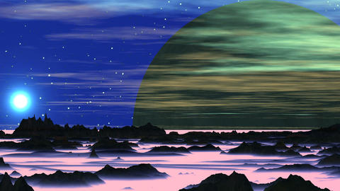 Sunset and Huge Alien Moon Animation