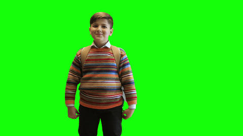 Schoolboy boy in a sweater and with a backpack laughs on a green background Footage