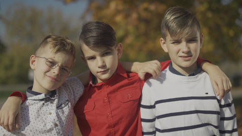 Portrait of three young boys embracing outdoors. Little brothers spending time Footage