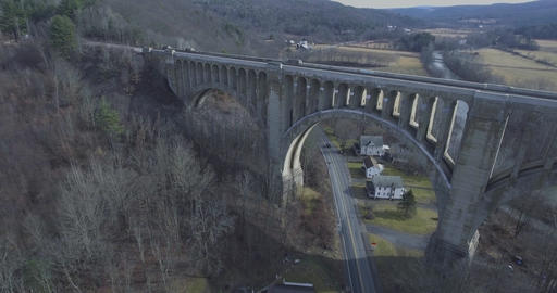 Ariel Fly By Over Historic Bridge/Train Tracks/Viaduct Footage