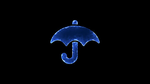 Symbol umbrella. Blue Electric Glow Storm. looped video. Alpha channel black Animation