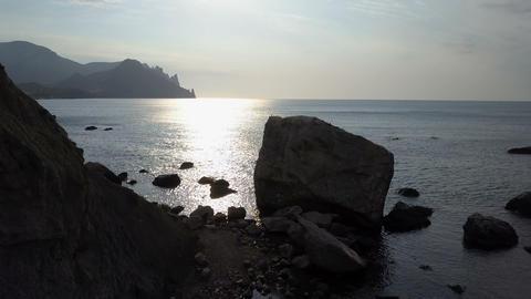 Sunrise over Kara-Dag Mountain in Crimea. Aerial view of Black sea, Mountains Live Action