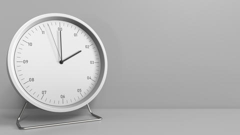 Round clock shows 2:00 or 14:00 sharp. Two or fourteen o'clock. 3D animation Footage