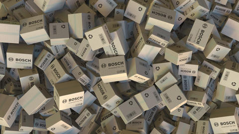 Boxes with BOSCH logo. Editorial animation Live Action