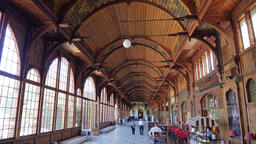 Swieradow Zdroj - spa town in Poland. Wooden walking Hall in a Spa House Live Action