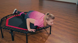 Sporty Fit Lady is Doing Stretching Exercises at Fitness Workout in the Gym Footage