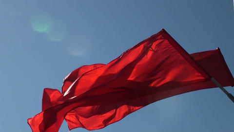 The red flag in the wind Stock Video Footage