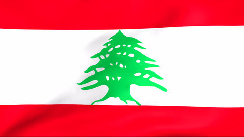 Flag Of Lebanon Stock Video Footage