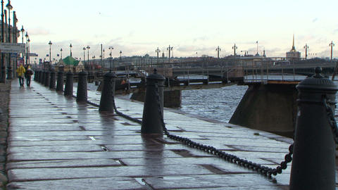 The embankment of the Annunciation of the bridge Stock Video Footage