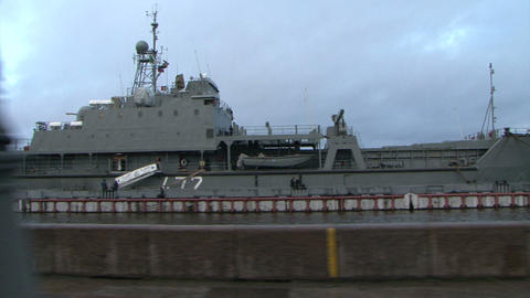The military ship at berth Stock Video Footage