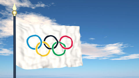 The flag of the Olympic games Stock Video Footage