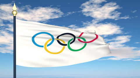 The flag of the Olympic games Animation