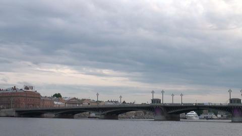 Blagoveshchensky bridge In St. Petersburg Footage
