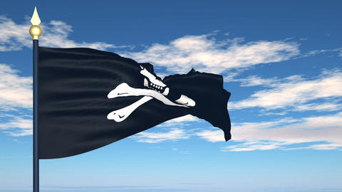 Pirate flag, Jolly Roger Stock Video Footage