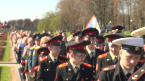 The mourning ceremony in the Piskarevsky cemetery Footage