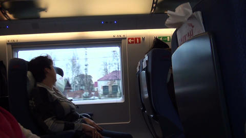 A passenger in a train Stock Video Footage