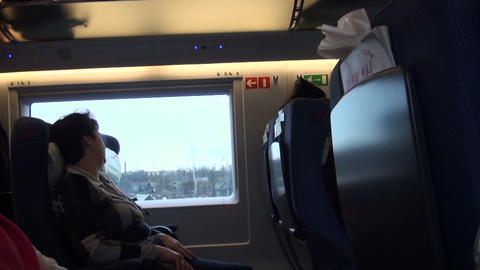 A Passenger In A Train stock footage