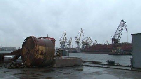 Cranes in the port of Stock Video Footage