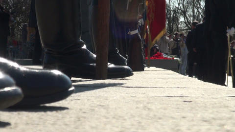The butt of the weapon at the feet Stock Video Footage