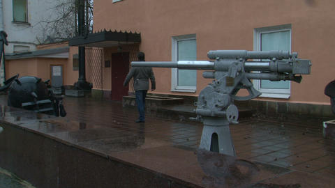 The gun at the entrance to the Museum Stock Video Footage