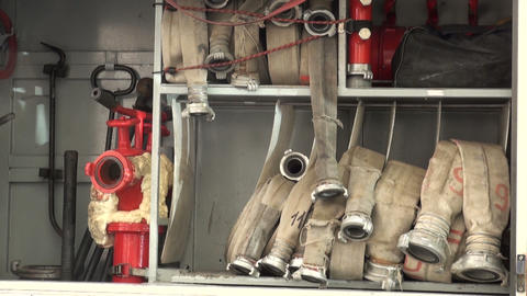Fire hoses and sleeves Stock Video Footage