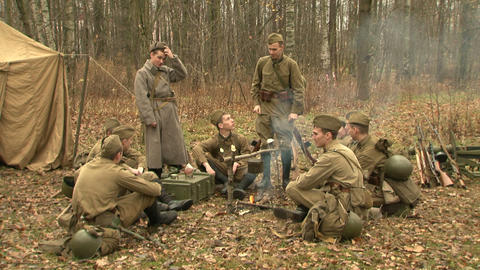 Soldiers campfire Stock Video Footage