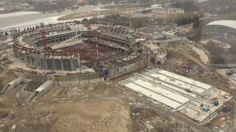 Construction site view from the top Stock Video Footage