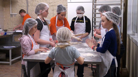Children knead the dough Footage