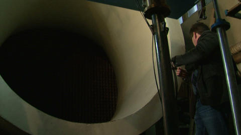 The journalist at the wind tunnel Stock Video Footage