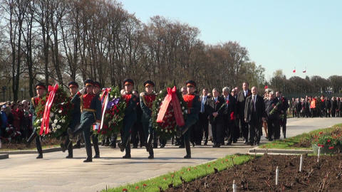 Laying wreaths at the monument Stock Video Footage