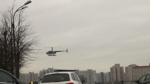 The helicopter comes to a landing Footage