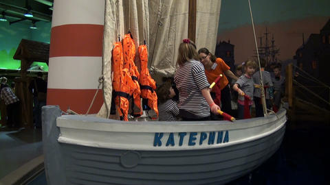 Children play on a yacht Stock Video Footage
