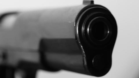 Pistol macro BW Stock Video Footage