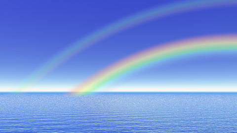 Rainbow over the ocean - 3D render Animation
