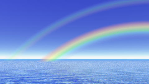Rainbow over the ocean - 3D render Stock Video Footage