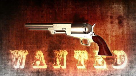 Background with Wanted Title and Revolver - Revolver 01 (HD) Stock Video Footage