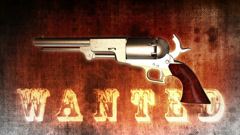 Background With Wanted Title And Revolver - Revolver 01 (HD) stock footage