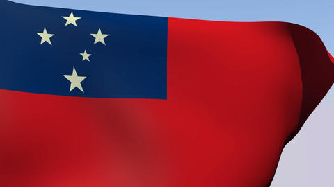 Flag of Samoa Stock Video Footage