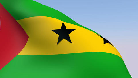 Flag of Sao Tome and Principe Stock Video Footage